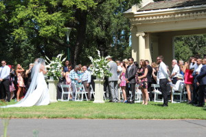 A wedding ceremony in Fitzroy Gardens, Melbourne