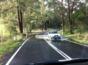 Water on the road from Melbourne to Sydney