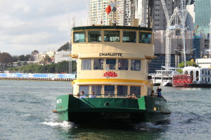 A Sydney Ferry arriving at Pyrmont Bay Ferry Wharf