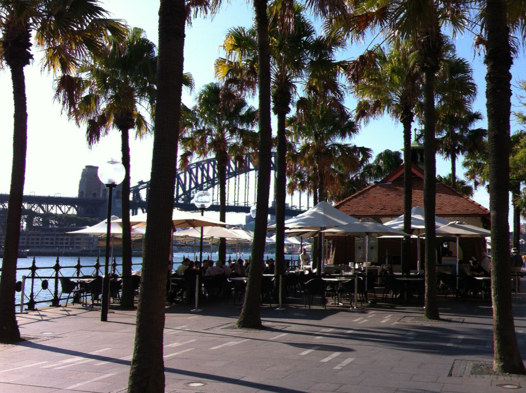 Sitting at a cafe near Circular Quay, Sydney