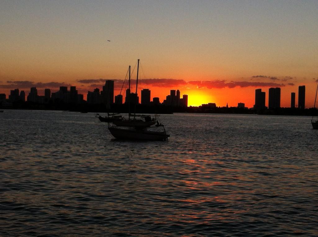 Miami Beach bike route, city skyline