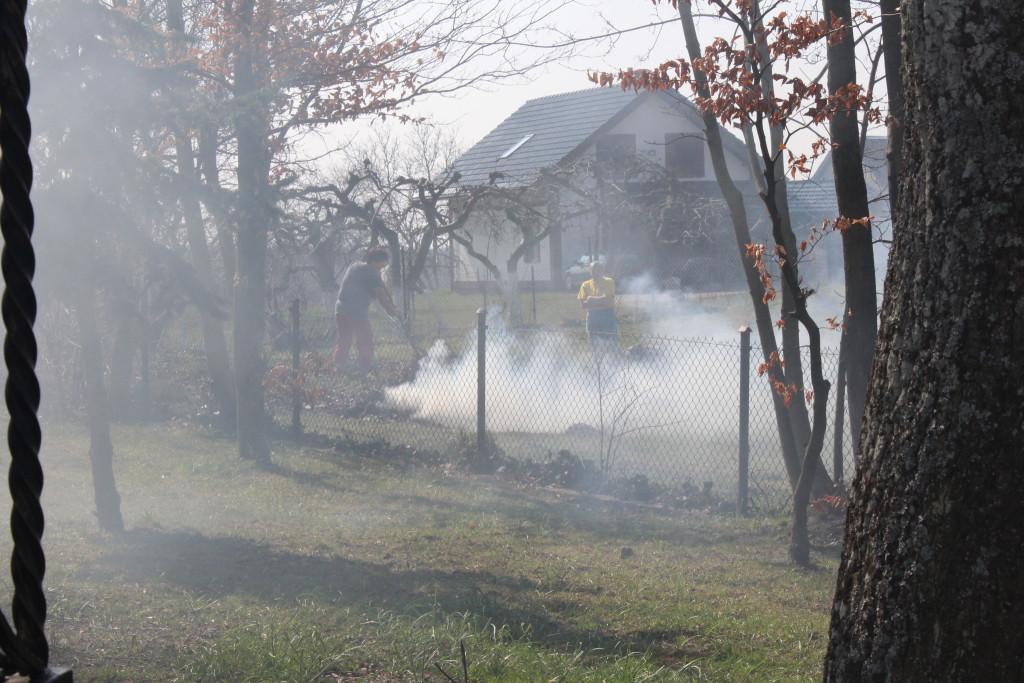 Burning grass in Wicko, Poland