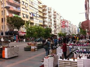 A shopping street in Antalya