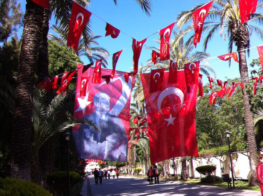 Turkish flags in Karaalioglu Park, Antalya