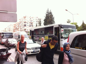 Taking a dolmus bus, Turkey