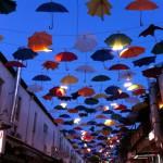 Umbrellas above a restaurant street, Antalya