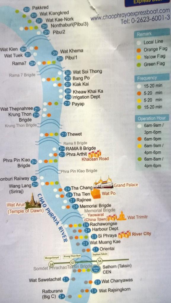 Chao Praya Bangkok river boat map
