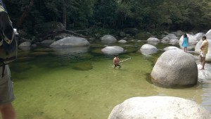 Swimming in Mossman River, Daintree