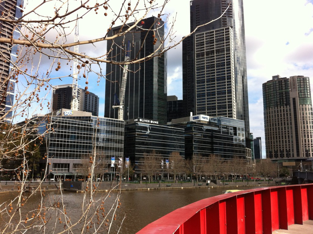 Southbank skyscrapers Yarra river walk