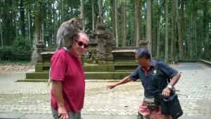 Monkey on the shoulders, Sangeh Monkey Forest, Bali