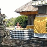 Offering at Taman Ayun temple, Bali