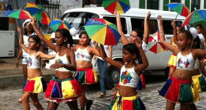 Olinda Carnival parade and umbrellas