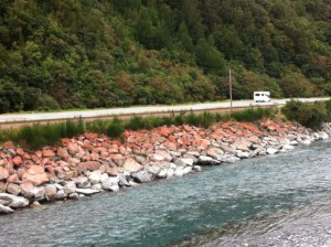 Christchurch to Greymouth road and stones