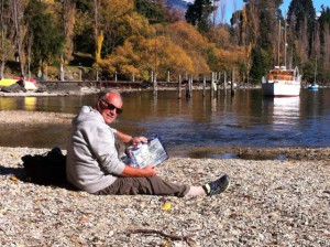 Enjoying Queenstown pebble beach