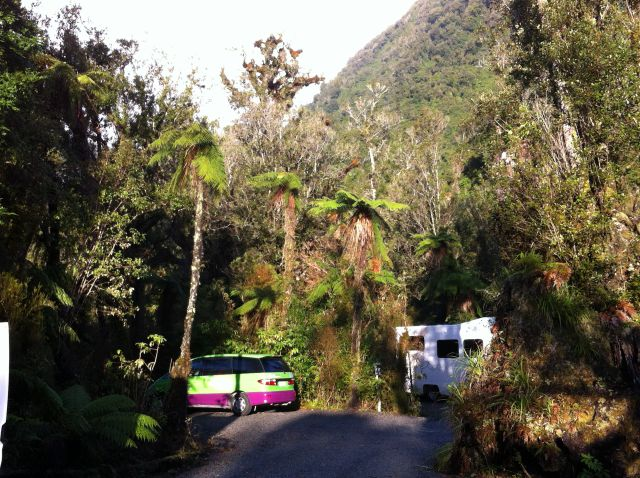 New Zealand campervans in holiday park