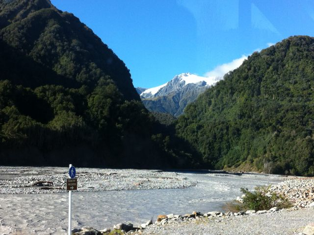 Franz Josef and Fox Glaciers, river view