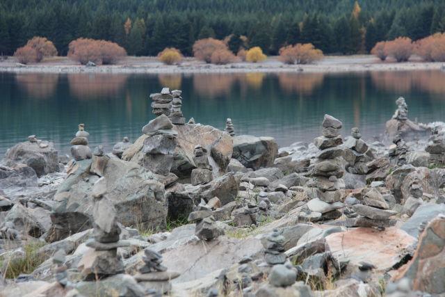 Lake Tekapo piled stones