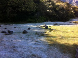 Mount Cook campsite frost