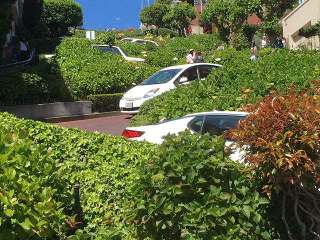 Driving down Lombard Street