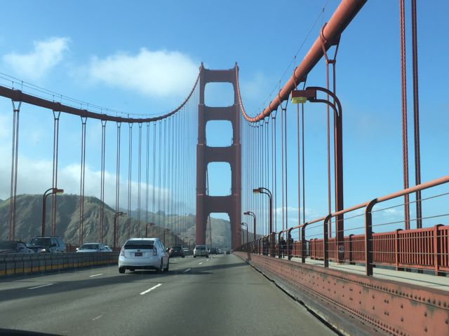Driving on Golden Gate Bridge