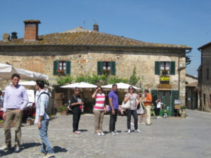 Tourists in a Tuscany village