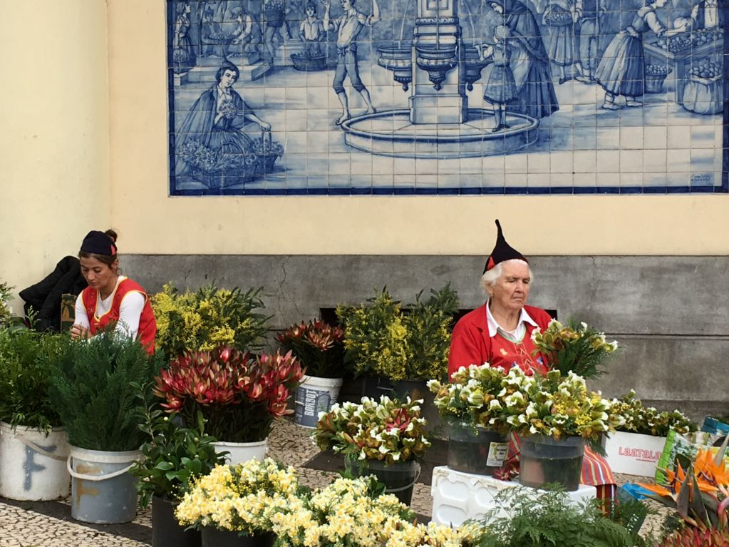 Exploring Funchal sights Mercado flower sellers
