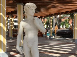 Royal Savoy pool area statue