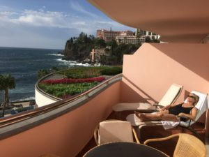 Sunbathing on Funchal hotel balcony