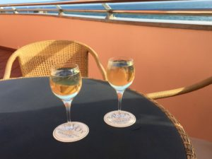 Wine on Funchal hotel balcony
