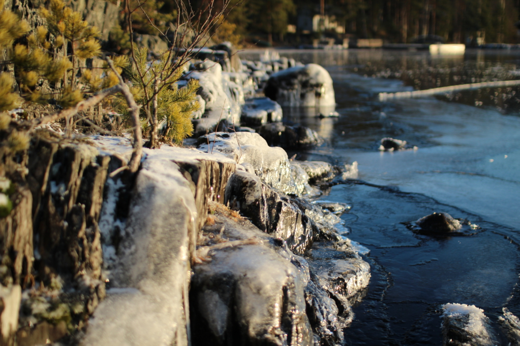 Lake freezing, winter in Finland