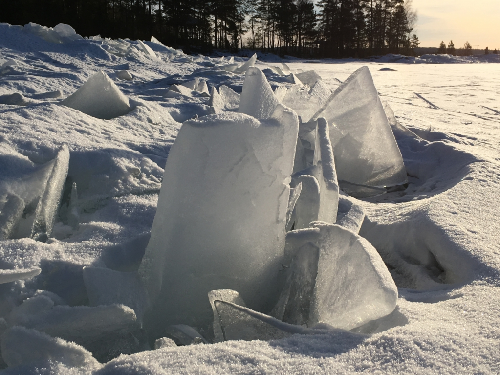 Packed ice in winter Finland