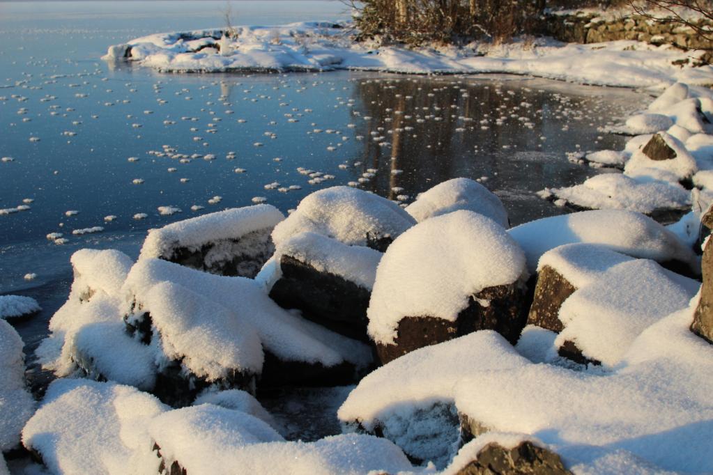 Winter in Finland, frozen lake