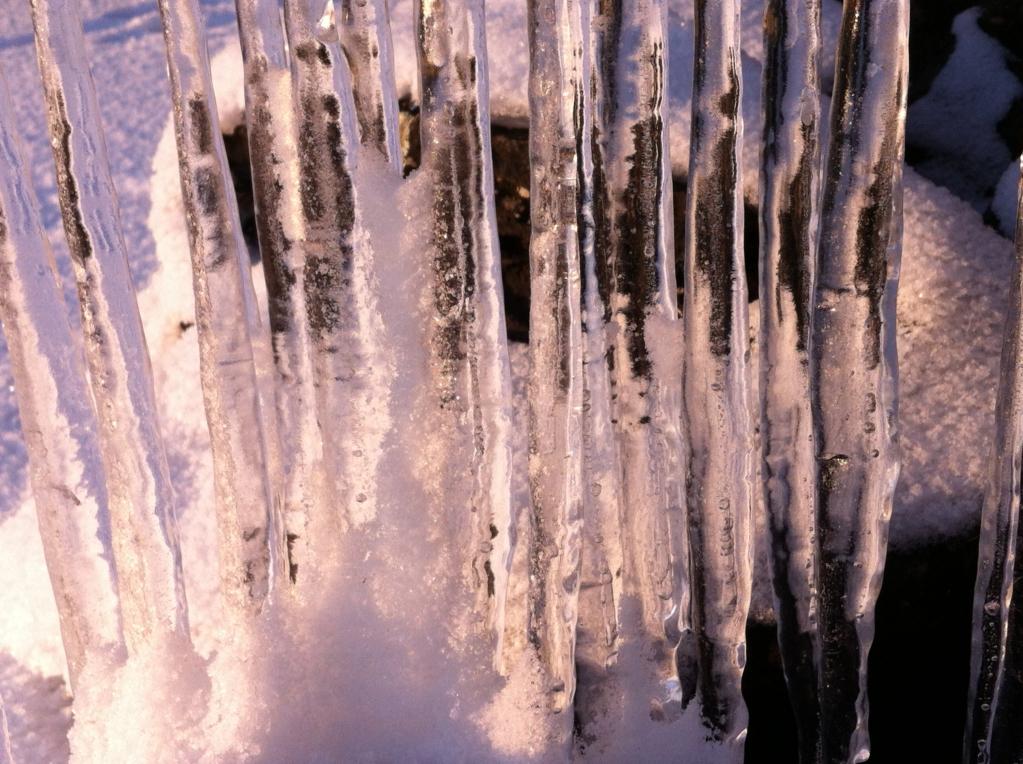 Winter in Finland, frozen waterdrops