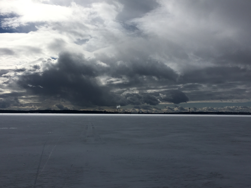 Winter lake view of Tampere Finland