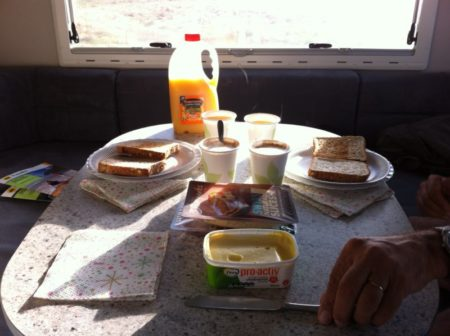 Breakfast in campervan
