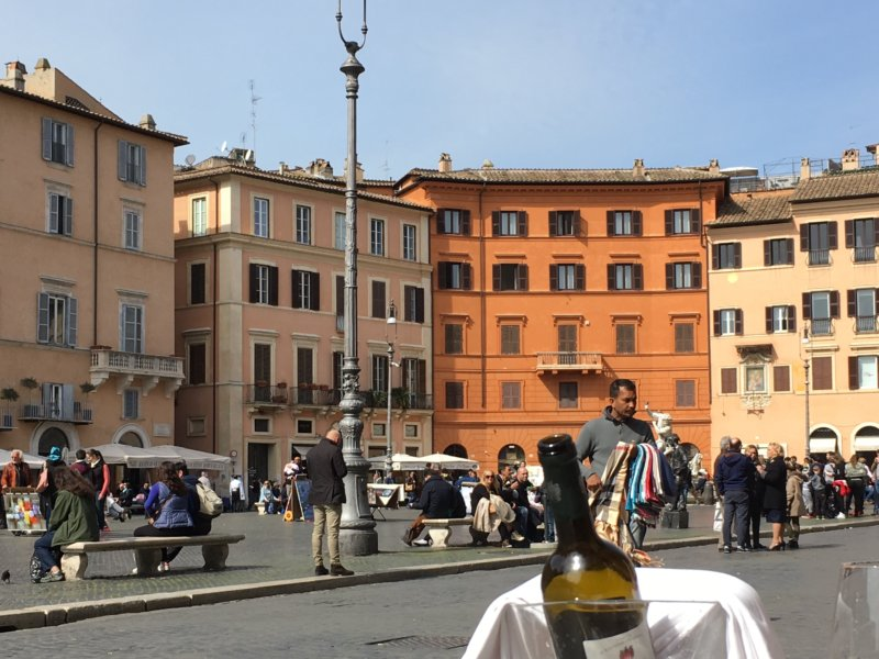 Piazza Navona from street cafe, Rome