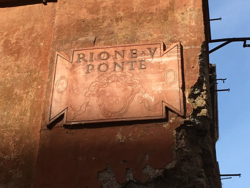 Rome old quarters street sign