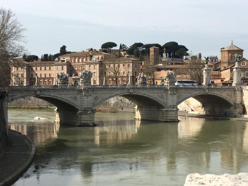 Tiber bridge with statues, Rome