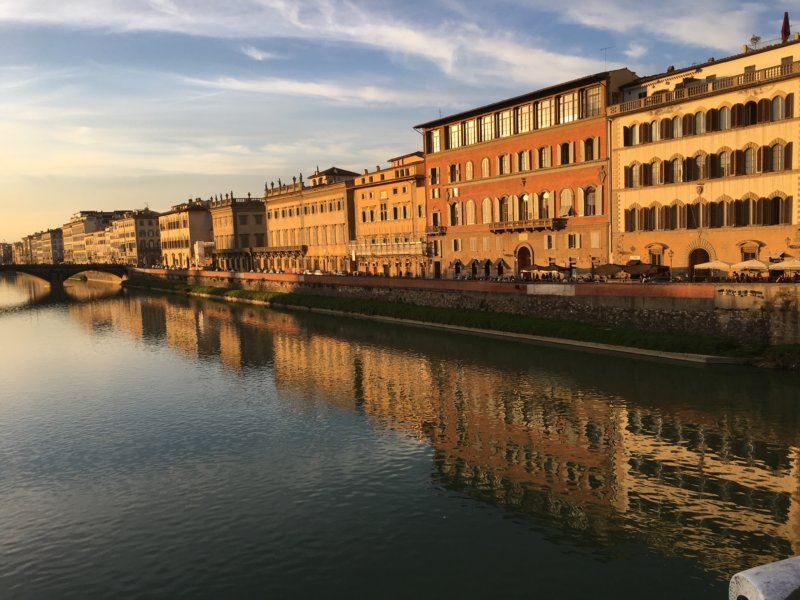 River Arno and Ponte della Carraia at sunset