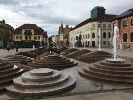 Fountains on an Aalborg square