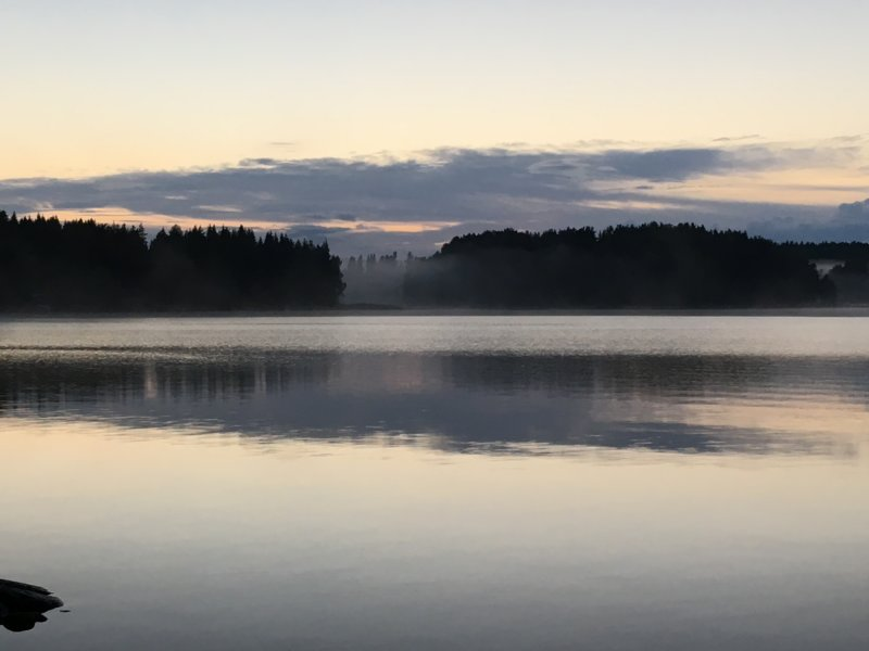 Lake and mist after sunset, Finland