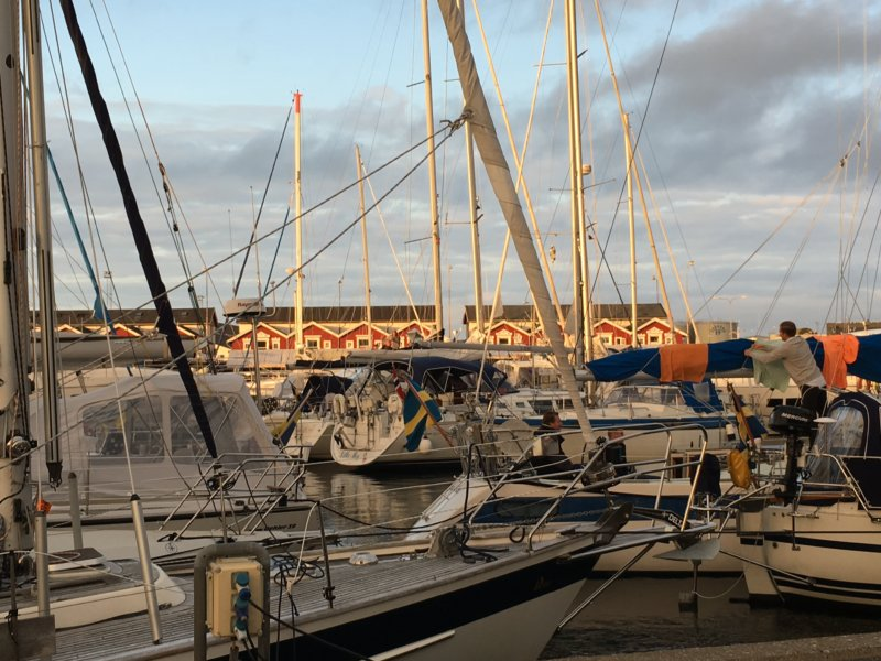 Skagen harbor sailing boats and restaurant row