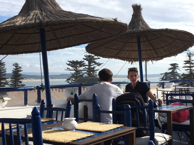 Essaouira city wall and beach from cafe