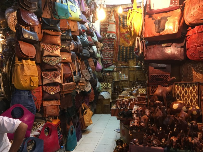 Marrakech souk: leather bags