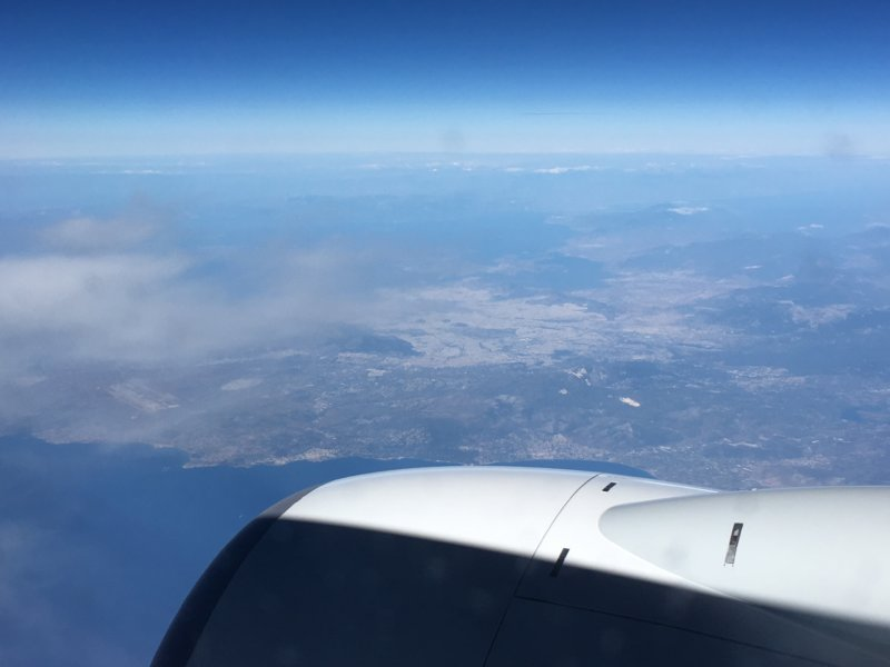 Flying over Southern Europe