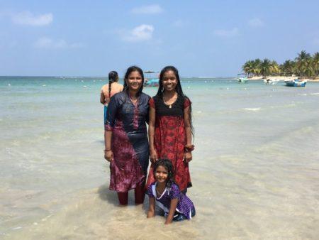Girls at Passekudah Bay, Sri Lanka