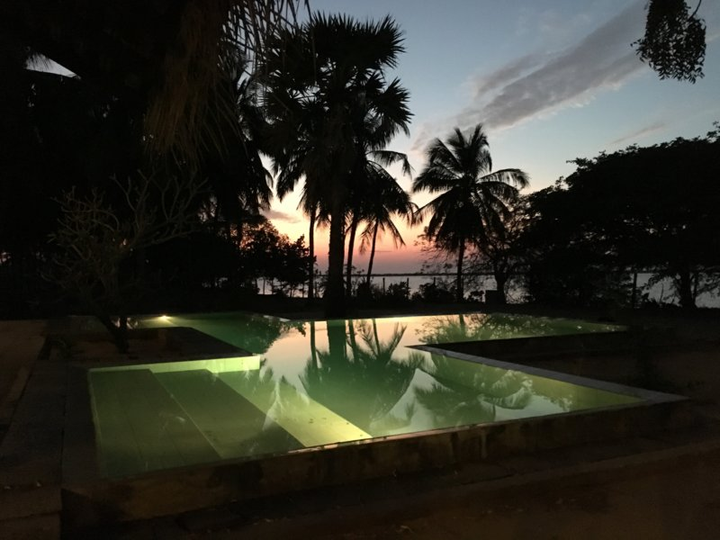 The Villa Kalpitiya pool after sunset