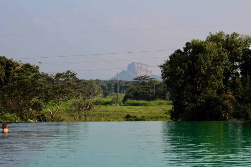 Sigiriya Rock from Aliya Resort & Spa pool