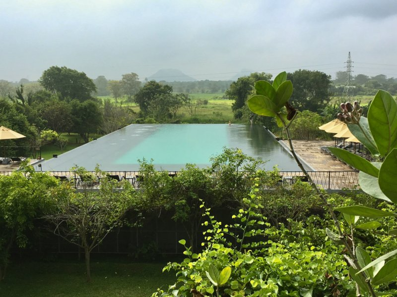 Aliya Resort pool in morning mist