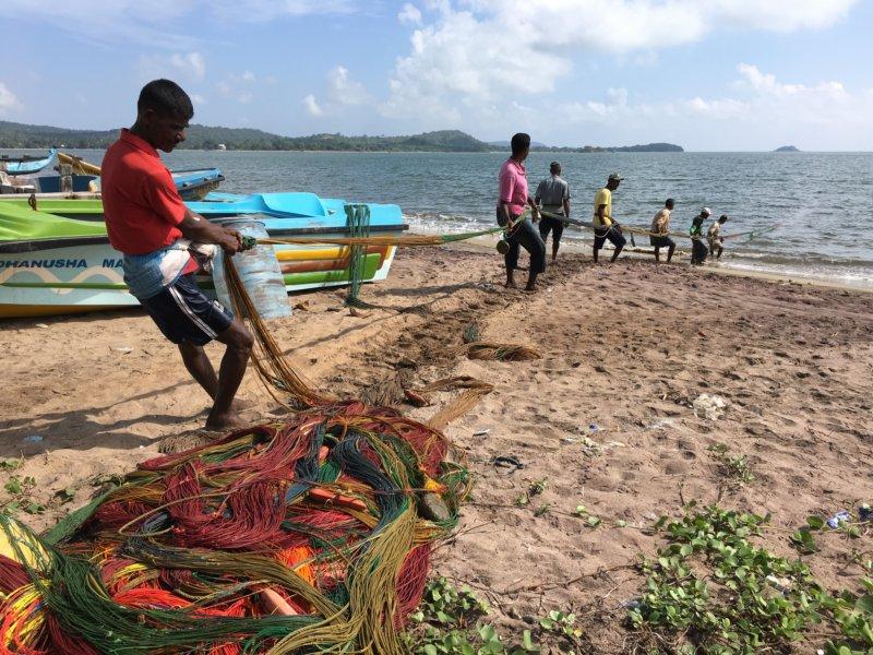 Sri Lanka East Coast fishermen and nets